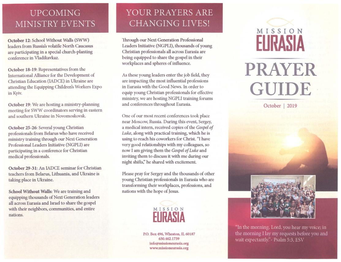 October 2019 Prayer Guide