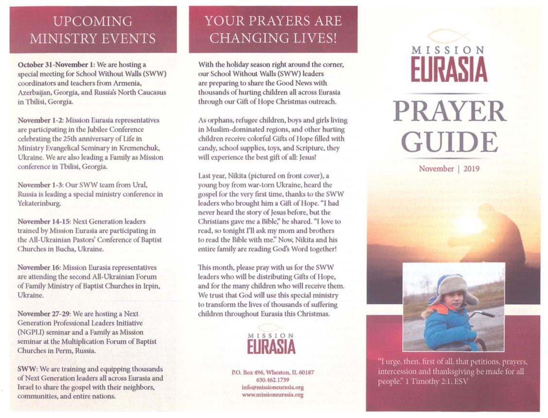 November 2019 Prayer Guide