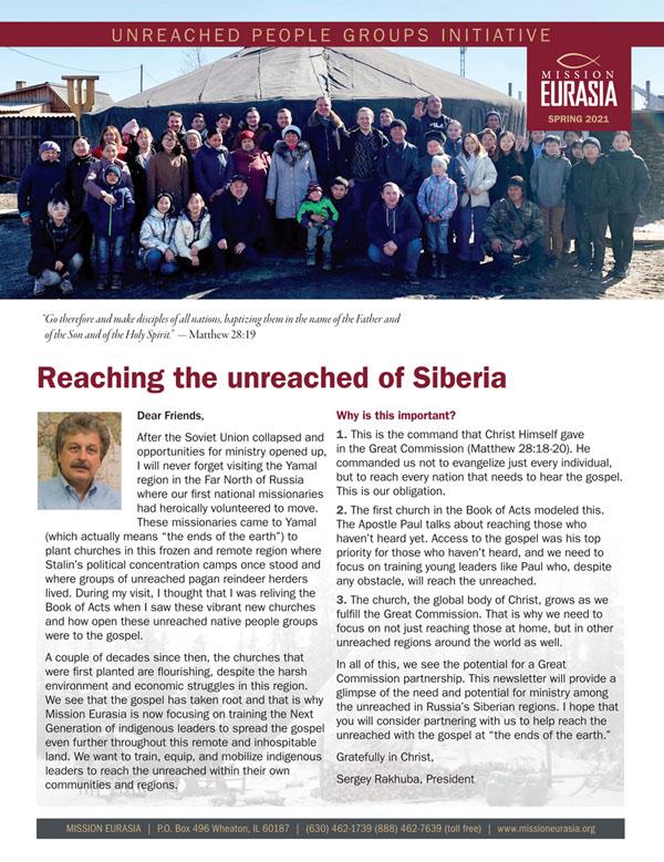 Mission Eurasia Spring 2021 Newsletter.